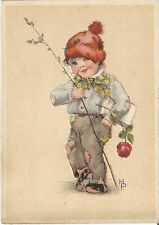 Kind, Junge mit Blume, Rose, Hannes Petersen Künstlerkarte