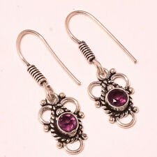 Faceted African Amethyst Gemstone 925 Stamped Earring Jewelry 1.3 Inch 4271