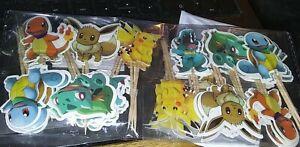 48 Pieces Pikachu Pokemon Cupcake Toppers Children's Birthday Party Picks