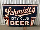 RARE Schmidts City Club DOUBLE SIDED Porcelain Advertising Beer Sign! Wow!