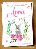 PERSONALISED Cute Rabbit Christening Cards Naming Day Baptism Pink Girls Female