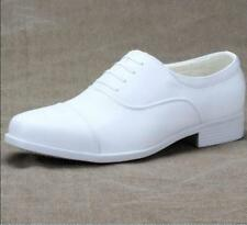 White Men Lace Up Pointed Toe Casual Wedding Navy Military Shoe Dress Block Heel