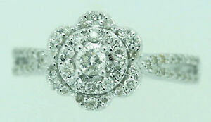 TR1751 Solid 14K White Gold Real Natural 0.48CT Diamond Cluster Flower Fine Ring