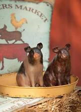 Set of 2 Rustic Country Style Glasgow Farms Pig Figurines