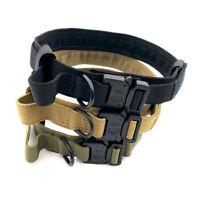 FM- Tactical Military Heavy Duty Training Nylon Dog Collar w/ Handle Buckle Sanw