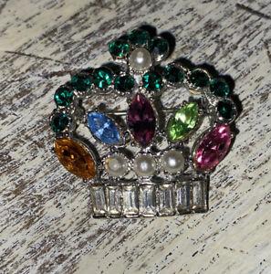 Vintage Jewelry Multi Colored Rhinestone Crown Brooch Pin