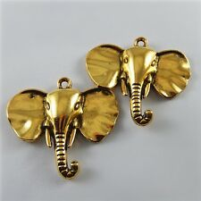 8 pcs Antique Style Gold Plated Elephant Head Look Charms Necklace Pendant 52229