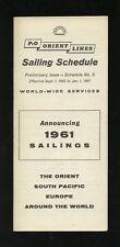 1961 P&O Orient Lines Sailing Schedule Brochure - Peninsular & Oriental