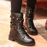 Womens Lace Up Punk Motorcycle Biker Military Army Combat Ankle Boots Size N-93