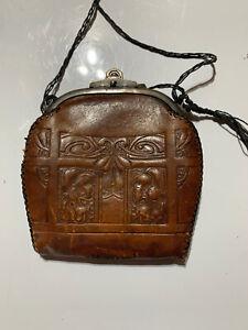 Vintage Victorian Hand Tooled Leather Bosco Built Handbag Purse Locking J2