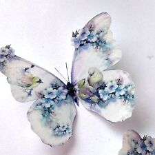 4 Shabby Chic Blue Flowers Birds 3D Butterflies Butterfly Decals Decorations