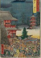 Japanese Woodblock Print Ukiyo-e Hiroshige Edo Asakusa no Ichi Winter