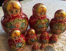 Beautiful Semenovskaya Russian Matryoshka Nesting Doll 9 Hand-crafted & painted!