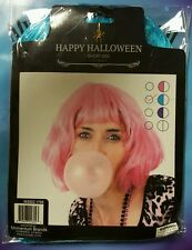 SHORT BLUE WIG HAPPY HALLOWEEN  11.5 INCHES
