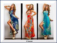 vestito donna abito monospalla fibbia strass laterale floreale spacco nuovo
