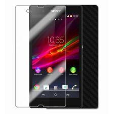 Skinomi Carbon Fiber Black Phone Skin+Screen Protector Cover for Sony Xperia ZL