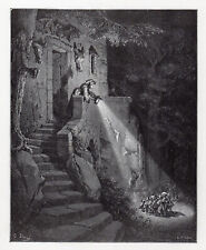 """Magnificent 1800s Gustave Dore Fairytale Woodcut """"Little Tom Thumb"""" Framed COA"""