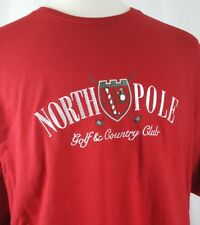 North Pole Golf & Country Club Embroidered T-Shirt Men XL Red Cotton Christmas