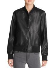 MSRP $98 Aqua Faux Leather Bomber Jacket Size LARGE BLACK