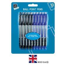 10x RETRACTABLE BALLPOINT PENS Blue Black Ball Point Biros School Office STA0353