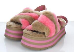 Z52  $110 Women's Sz 9 M Ugg Disco Checker Genuine Shearling Slide Sandal