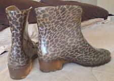 Womens Sarra Z Lienne Leopard Ankle Rain Rubber Boots Brown Size 36 France EUC