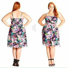 Nordstrom City Chic Tropicana Printed Floral Chiffon Dress Plus Size 22 24 XL