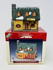 Lemax Village Collection Vail Village Log Cabin Porcelain No Cord Flaws 1993