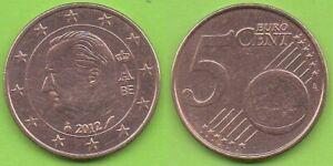Belgique; 5 cent, 2012, effigie d' Albert II, Type 2, pièce ayant circulé
