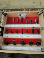 Vintage 20 Piece Boxed /cabinet Tungsten Tipped Router Set Professional Tool...