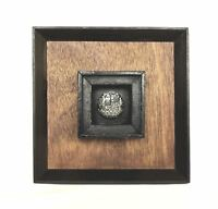 Jerusalem, Silver 925  Bas-Relief Shield in a Wooden Frame. Vintage Israel