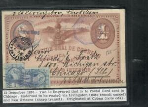 GUATEMALA COVER (P1809B) 1894  BIRD 1CX2 ON 1C PSC VIA LIVINGTON TO USA