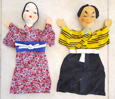 Pair Japanese Hand Puppets Vintage Antique-Painted-Man/Woman-Silk Clothes-14""