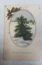AK Neujahrskarte Tannenbaum mit Fahnen um 1915