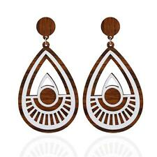 Women 1pair Wooden Earrings Ear Stud Jewelry Party Accessories Cool Silver