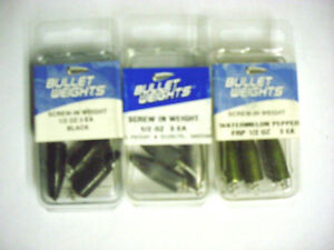 3 Packs of 3 Bullet Weights Screw-In Weights-1/2 Oz (1 Each Color)