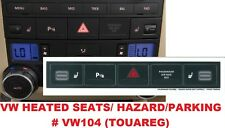 2004–2009 VW Volkswagen Touareg Matte Black Hazard Parking Button Repair Decals