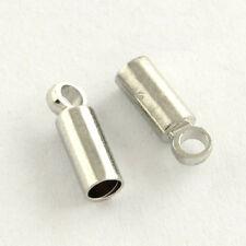 LOT de 40 EMBOUTS TUBE à COLLER écraser 9 x 3,5mm pour CORDON 3mm ARGENTE perles