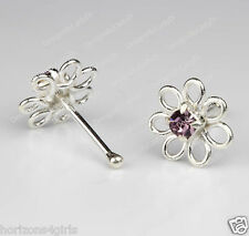 Silver Nose Stud Bone Ring One (1) 3/16 Inch Flower Lilac Purple Gem Sterling