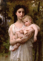Beautiful Oil painting Bouguereau - Young girl with Little brother in landscape