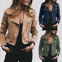 Plus Size Womens Ladies Suede Leather Jacket Flight Coat Zip Up Biker Tops Cloth