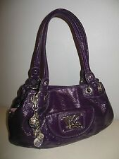 Gorgeous KATHY VAN ZEELAND Satchel HANDBAG Shiny PURPLE Silver Hardware & Charms
