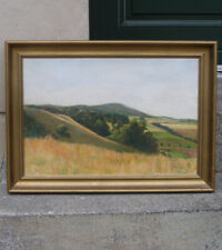 Fine Salon oil. Hilly Danish Summer Landscape. 1930s. Signed.