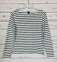 J.Crew Sz Women's XS Extra Small White Navy Long Sleeve Striped Spring Top Shirt