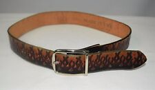 "GAVERE Black Red Orange Flame Embossed Stamped Leather 1 1/2"" Wide Belt Size 29"