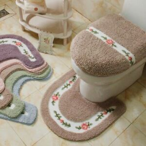 Toilet Rugs Bathroom Carpets Pastoral Style Flower Pattern Floor Bath Lid Covers