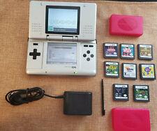 LOT Nintendo DS NTR-001 Titanium Handheld System 8 Games, Power Adapter, Stylus