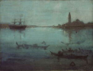 James Abbott Whistler Nocturne in Blue and Silver Poster Giclee Canvas Print