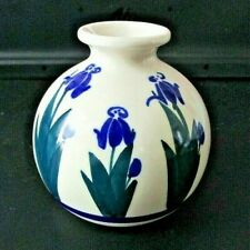"Vintage Paskal Studio Pottery Signed 4"" Weed Pot Vase-Blue Irises"