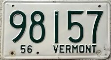 GENUINE 1956 Vermont American USA License Licence Number Plate Tag 98157